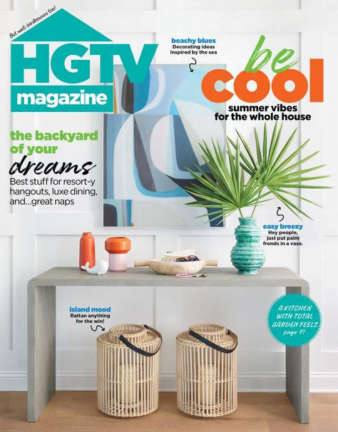 Rattan, palm leaves, and beachy blues! We're all summer-loving over here with the July/August issue of HGTV magazine.