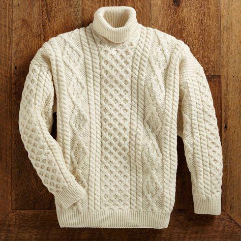Men's wool turtleneck sweater, 'Galway Bay'