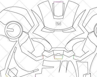 Iron Man Mark 42 Helmet A4 Letter Size Pdf Template Ready Etsy Iron Man Drawing Iron Man Helmet Iron Man