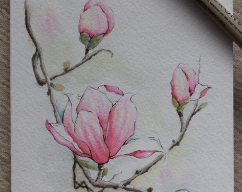 Magnolia 3 blossoms watercolor painting card- Print