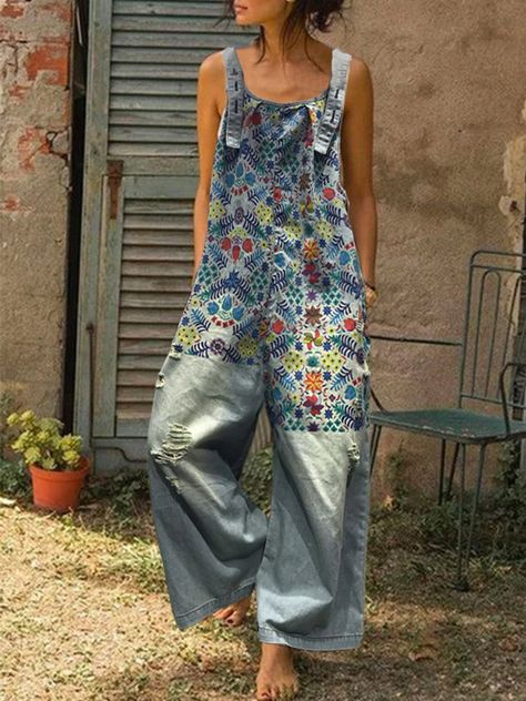 denim overalls ripped floral print patchwork women - Newchic