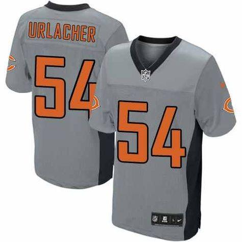 $129.99 Men's Nike Chicago Bears #54 Brian Urlacher Elite Grey Shadow Jersey