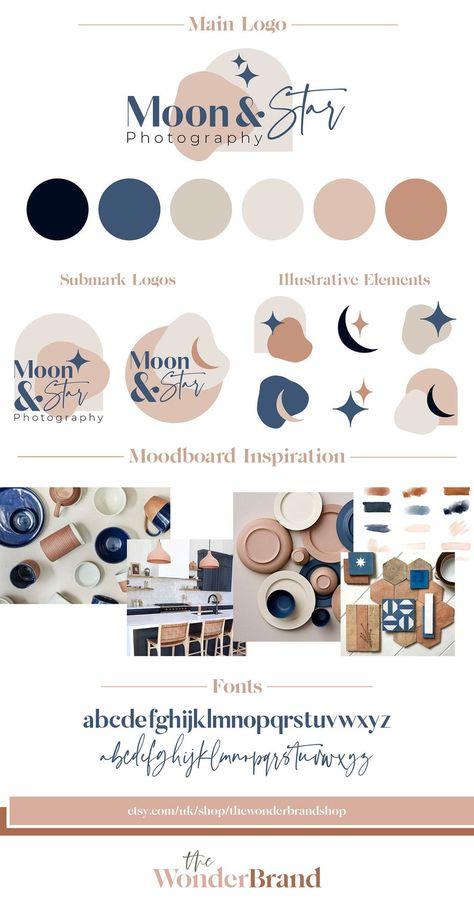 Moon & Star Boho Branding Package, Business Logo Design, Watermark, Modern Logo Kit, Small Business Blog Boutique Pre-Made Branding Kit