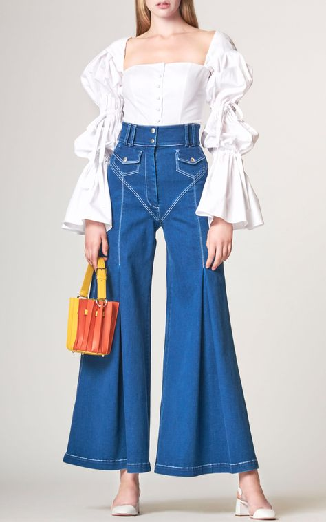 Sara Battaglia High-Waisted Stitch Wide-Leg Jeans