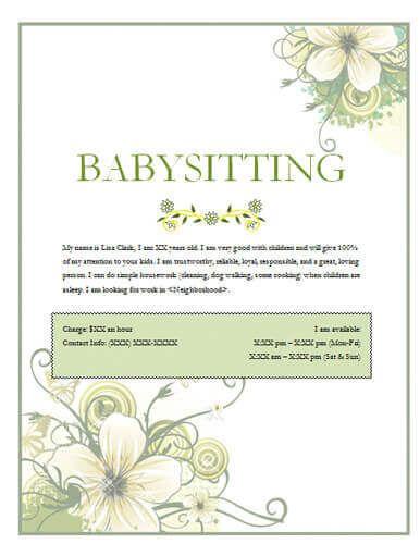 Babysitting Flyers And Ideas 16 Free Templates Babysitting
