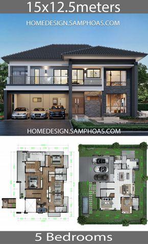 Home Design Plans 15x12 5m With 5 Bedrooms House Idea Arsitektur Arsitektur Rumah Denah Rumah