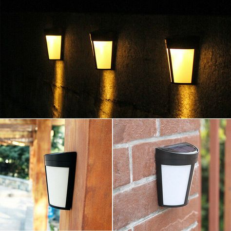 Solar Outdoor Fence Lights Wall Door Step 6 Led Light Garden Lighting