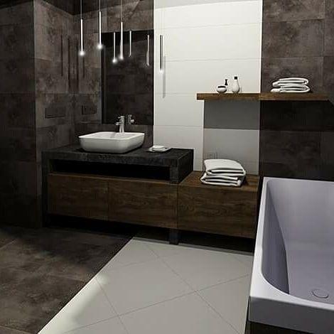 Lazienka 9m2 W Ciemnej Kolorystyce Bathroom Design Ivonnedesign Modern Blackwhite Natural Room Wall Decor Wall Decor Lights Wall Decor Living Room