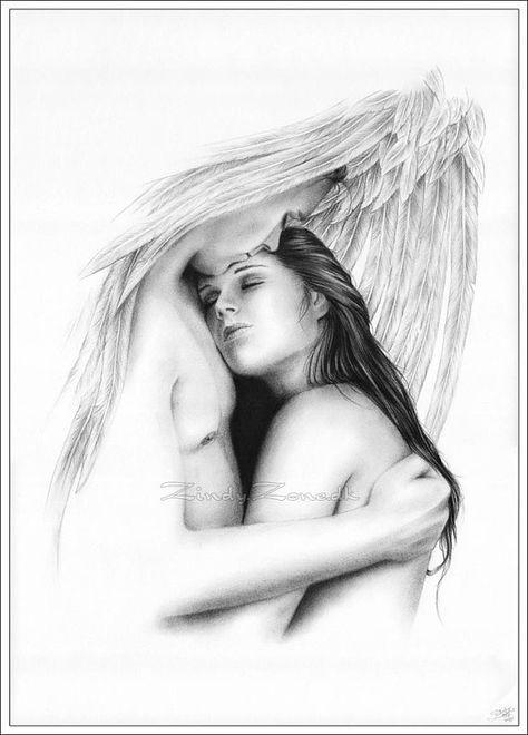 Her Protector Angel Hug Heaven Love Art Print Couple Girl Zindy Nielsen