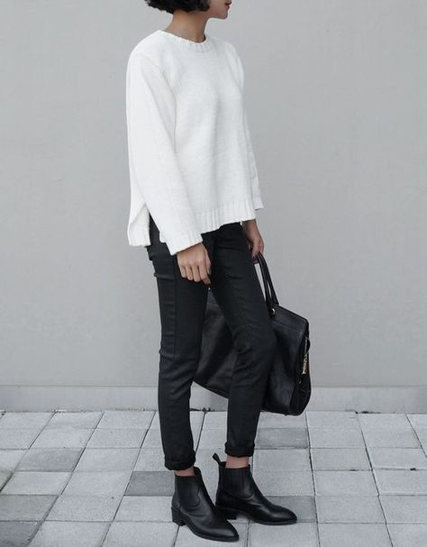 Casual Chic - white jumper, black jeans, ankle boots & leather bag