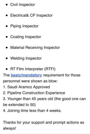 Jobs Available For Civil Inspector Electrical Inspector Piping Inspector Coating Inspector Material Inspector Welding Inspector And Rtfi Welding Inspector Electrical Inspector Civil Engineering Jobs