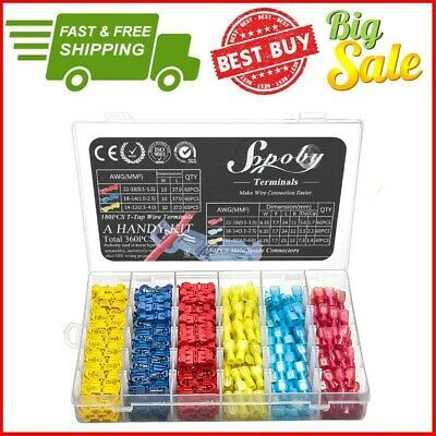 Ad Ebay Link 360pcs Waterproof 22 10 Awg T Tap Quick Splice Wire Terminal Crimp Connector Kit In 2020 Cool Things To Buy Ebay Crimps