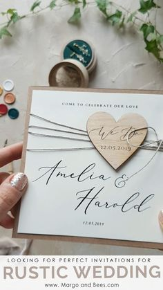 Rustic wedding ideas? Perfect invitatons with eco paper and wooden heart #rusticinvitations #rusticwedding #countrysidewedding #ecoinvitations