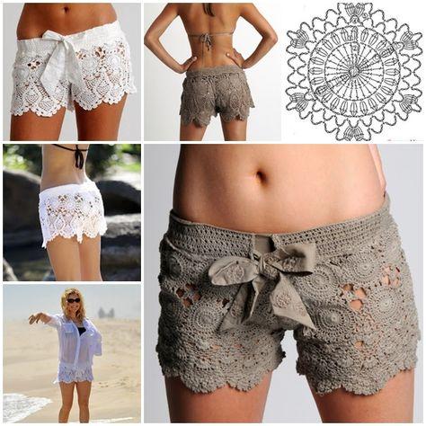 Crochet lace shorts Pattern wonderfuldiy Wonderful DIY Crochet Beach Lace Shorts with Free Pattern