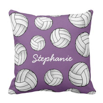 Custom Name Volleyball Purple Throw Pillow Girly Gift Gifts Ideas Cyo Diy Special Unique Purple Throw Pillows Throw Pillows Pillows