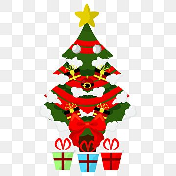 Cute Christmas Tree With Box And Ribbon Png Design Culture Decoration Red Png And Vector With Transparent Background For Free Download Cute Christmas Tree Christmas Tree With Gifts Christmas Tree Background