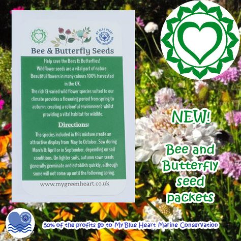 💚💚 Bee & Butterfly Seed Packets 💚💚 With spring on the way let's get our gardens or outdoor spaces ready! mygreenheart.co.uk #bees #bee #butterfly #butterflies #seeds #seedpacket #spring #spring2021 #flowers #garden #getready #biodegradable #reducereuserecycle #plasticfree #ecofriendly #mygreenheart