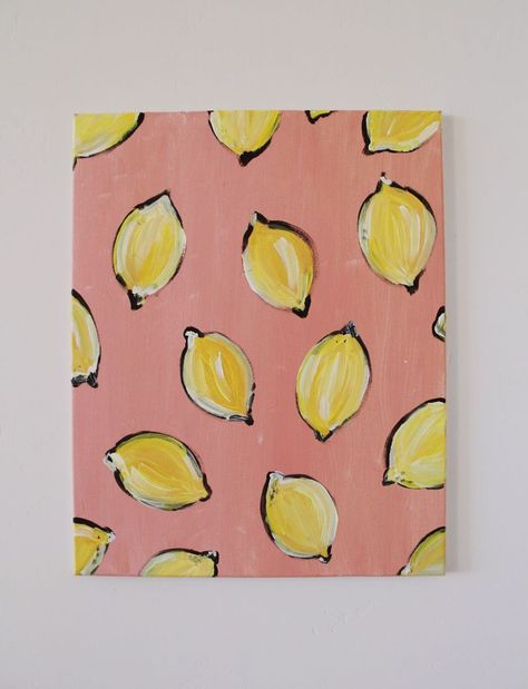 Excited to share this item from my #etsy shop: Lemon Happy! #art #painting #pink #yellow #unframed #lemon #edenmichelleart #whimsy