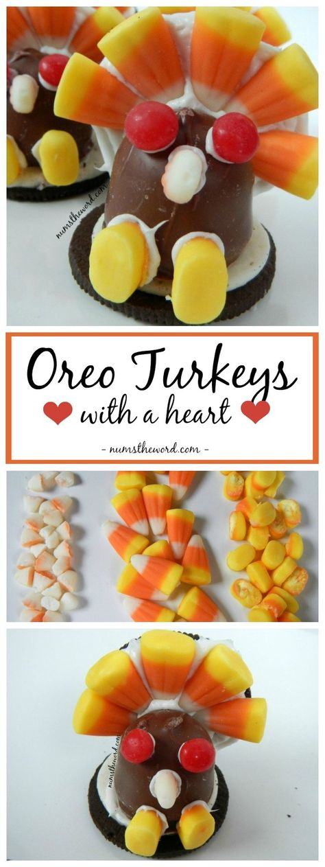 Oreo Turkeys are a fun Thanksgiving treat the kids are sure to love. Each comes with a heart & are as tasty as they are fun to make! Great gift for friends, neighbors or place card holders! #thanksgiving #kidfriendly #craft #turkey #oreo #oreoturkey #candycorn #kidcraft #ediblecraft #cordialcherries #dessert #placecardholder #recipes #numstheword #creative