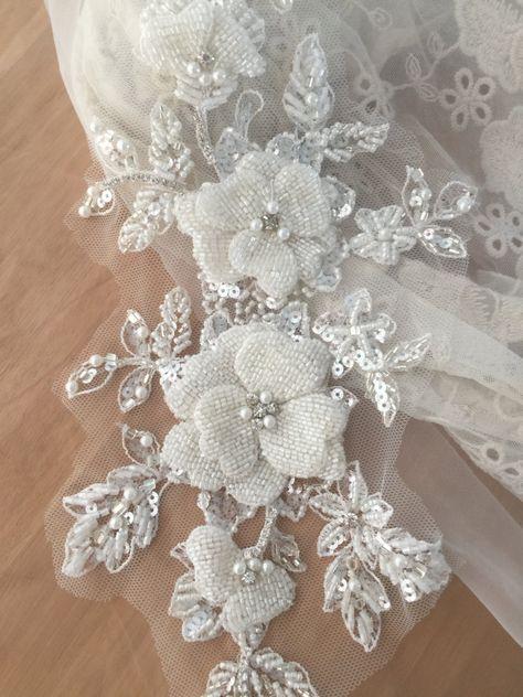 Lace aplique con cuentas flor del rhinestone 3d accesorios de parche para Vestido Costumes