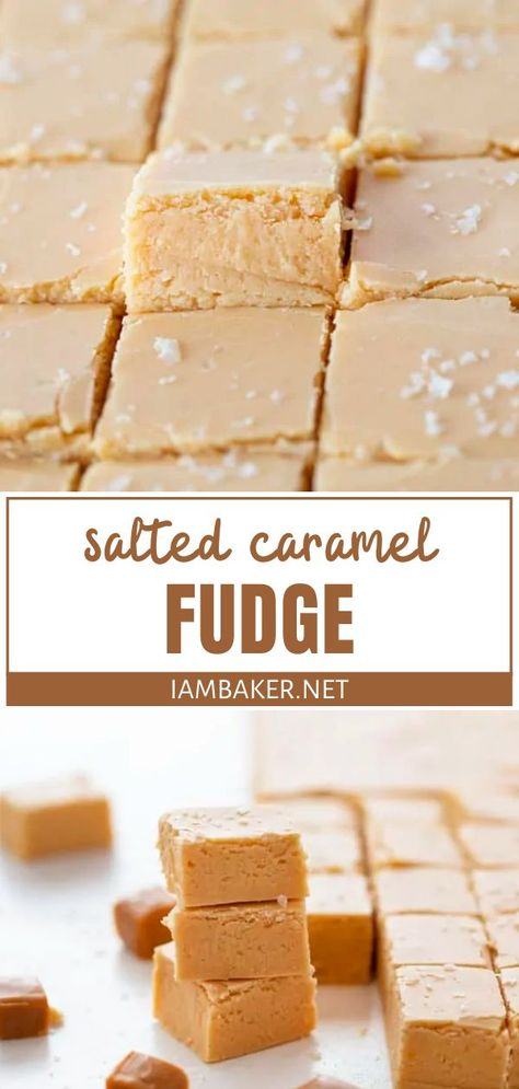 David's Writing - Salted Caramel Fudge - - - Bring life to your tastebuds with the perfect combination of salty and sweet! Salted Caramel Fudge is a new favorite addition to traditional fudge rec. Nutella Fudge, Salted Caramel Fudge, Salted Caramels, Homemade Desserts, Köstliche Desserts, Delicious Desserts, Dessert Recipes, Homemade Fudge Easy, Homemade Candy Recipes