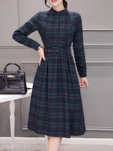 Stand Collar Dress A-line Daily Long Sleeve Elegant Cotton Checkered/Plaid Dress
