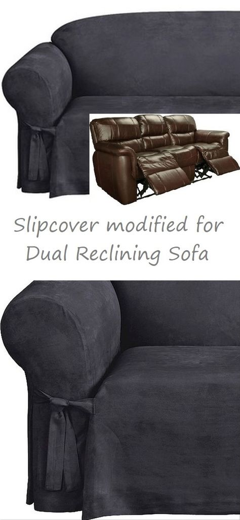 Miraculous Dual Reclining Sofa Slipcover Midnight Blue Suede Sure Fit Caraccident5 Cool Chair Designs And Ideas Caraccident5Info