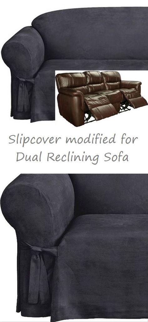 Prime Dual Reclining Sofa Slipcover Midnight Blue Suede Sure Fit Inzonedesignstudio Interior Chair Design Inzonedesignstudiocom