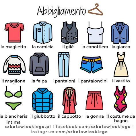 Włoskie słownictwo - Abbigliamento (Ubrania)