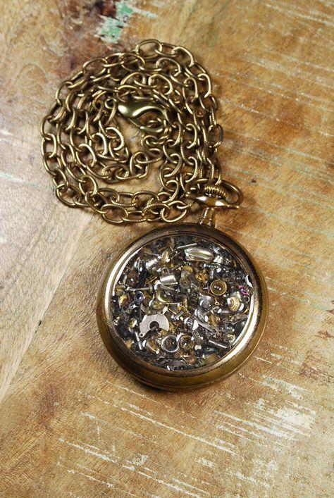 Steampunk Necklace Vintage Pocket Watch Case  by SteampunkVintage, $82.00