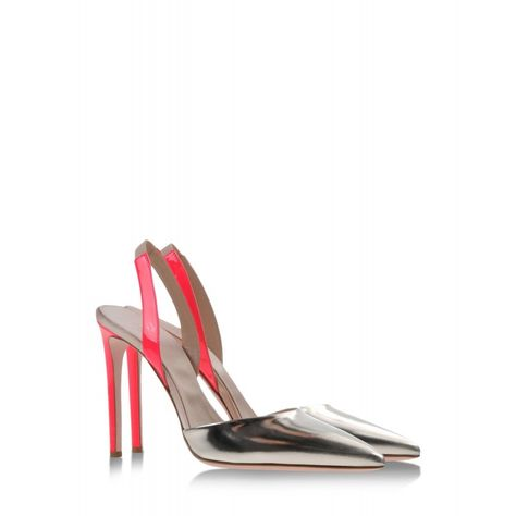 Valentine's Day Style Picks: Giambattista Valli Metallic Silver and Coral Leather Slingback Pump