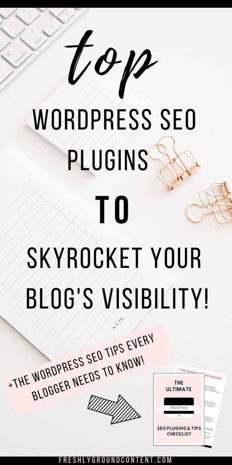 These free WordPress plugins are the secret to blogging SEO success! Grow your traffic and get more clicks with these 4 powerful blogging plugins. Read the WordPress plugins and SEO tips guide and grab your free printable SEO cheatsheet now! #WordPress