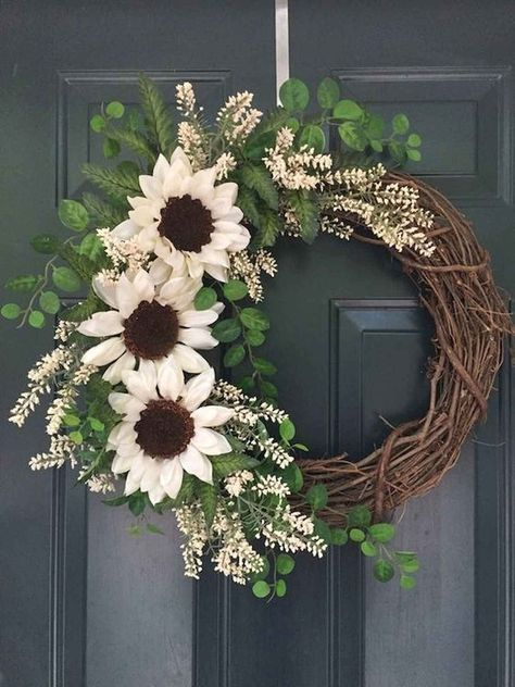 60 Beautiful Front Door Summer Wreath Decor Ideas diy #60 #beautiful #front #door #summer #wreath #decor #ideas