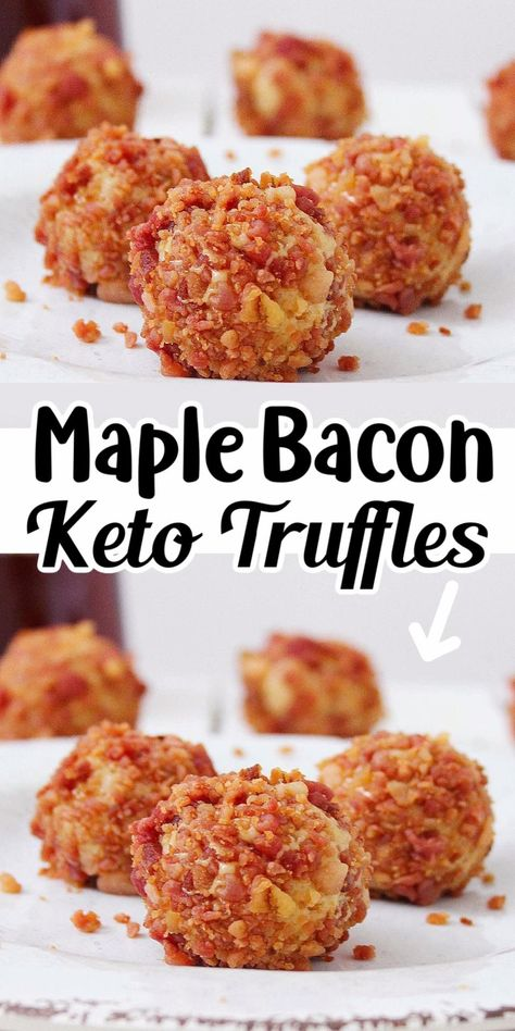 These maple bacon keto truffles are quick and easy to make! The sweet and salty combo of flavors is always a hit at a party!
