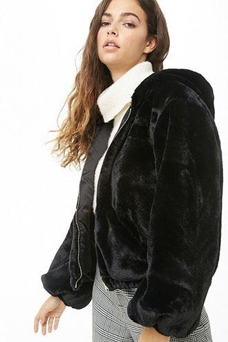 Faux Fur Zip Front Jacket Black Fur Jacket Black Fur Coat Faux Fur Jacket