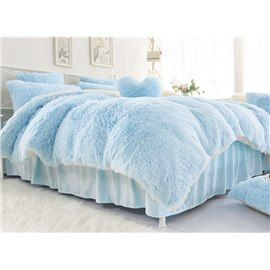 Solid Light Blue And White Color Warm Fluffy 4 Piece Bedding Sets