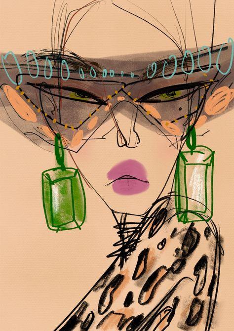 Fashion Illustration Print, Alice + Olivia - Lustrations World Art Sketches, Art Drawings, Urbane Kunst, Arte Sketchbook, Illustration Mode, Face Painting Designs, Face Art, Art Inspo, Collage Art