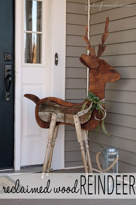 Outdoor Christmas Decorating: Reclaimed Wood Reindeer from Finding Home