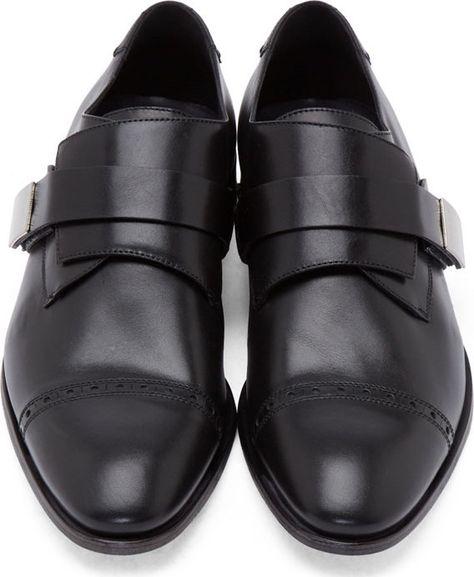 Calvin Klein Collection Black Leather Monk Strap Shoes