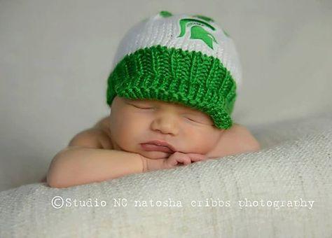 77a5e7f56aa Green and White Spartan Baby Cat...Newborn Baby Ball Cap.... Newborn MSU  Baby Hat... Hand Knit Baby Hat...MSU Green and White Baby Hat