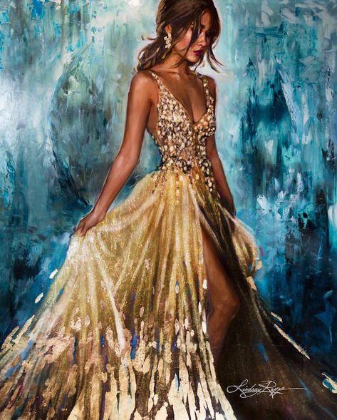 Mixed Media Ocean Goddess Paintings by Lindsay Rapp
