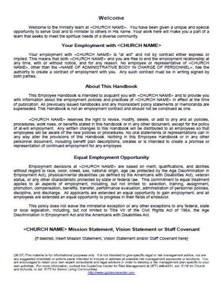 Employee Handbook Template Employee Handbook Template Employee