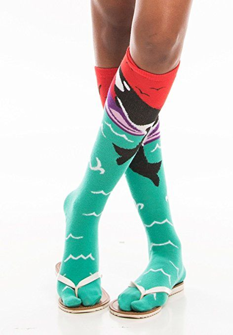 e5de243ebcc99 Orca Over The Calf V-Toe Flip-Flop Socks Tabi Toe Stylish Fun Novelty  Womens Girls Size 2 - 8