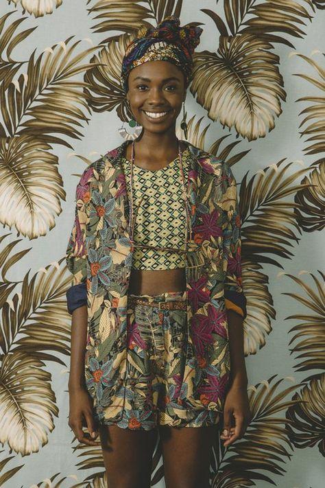 African wax print material summer shorts and jacket.