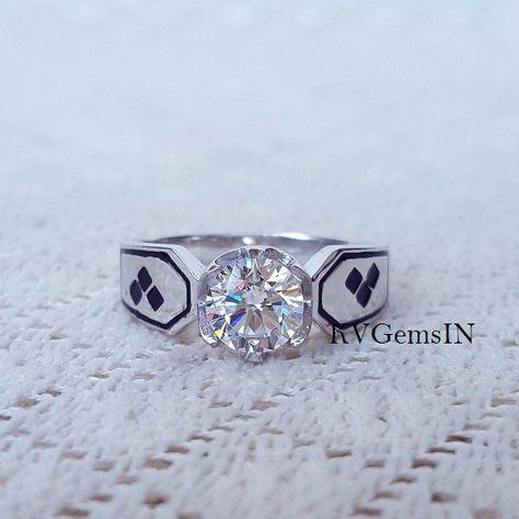 Batman Wedding Ring, Harley Quinn Inspired Ring, 925 Sterling Silver, Dark…