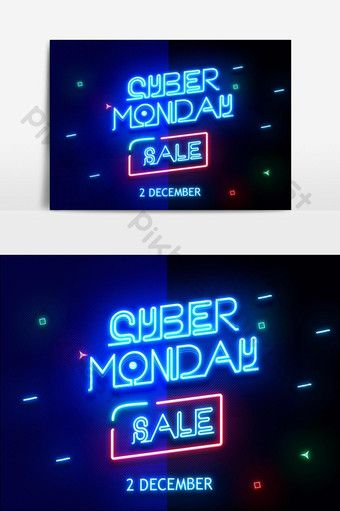 Cyber Monday Sale Neon Text Effect Pikbest Graphic Elements In 2020 Cyber Monday Art Cyber Monday Sales Cyber Monday