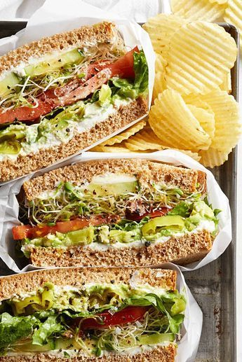 """Cucumber Sandwich """"I worked at a sandwich shop that made these vegetable sandwiches stuffed with cucumbers sprouts tomatoes and avocadoes. They were a veggie's dream! Vegetarian Recipes Dinner, Gourmet Recipes, Soup Recipes, Vegan Recipes, Dinner Recipes, Cooking Recipes, Vegetarian Lunch, Yummy Recipes, Dinner Ideas"""