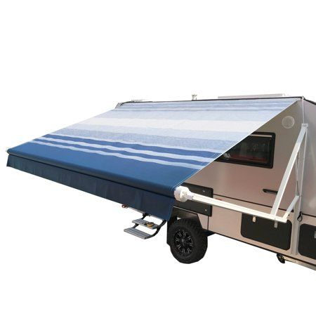 Aleko 20 X8 Motorized Retractable Rv Patio Awning Blue Striped Color Walmart Com In 2020 Retractable Awning Patio Awning Patio Canopy