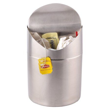 Estilo Mini Countertop Trash Can Brushed Stainless Steel Swing Top Trash Bin 1 5 L 0 40 Gal Silver Trash Can Bathroom Trash Can Trash Bins Stainless steel swing top trash can