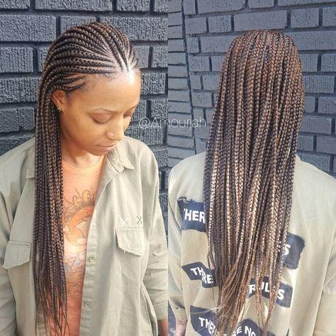 Book Under Half Cornrow Half Box Braids Swipe To See The Back In Detail Sidenot African Braids Hairstyles Hair Styles Cornrow Hairstyles